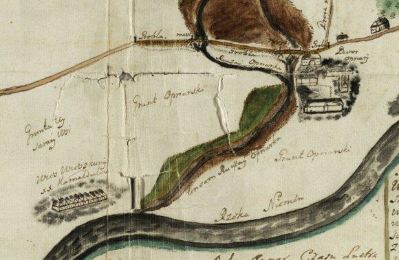 1766 m. kelio nuo Pažaislio į Vilnių plano fragmentas su pavaizduota žemgrinda (grobla). Lietuvos valstybės istorijos archyvas