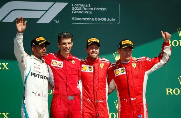 Lewisas Hamiltonas, Sebastianas Vettelis ir Kimi Raikkonenas