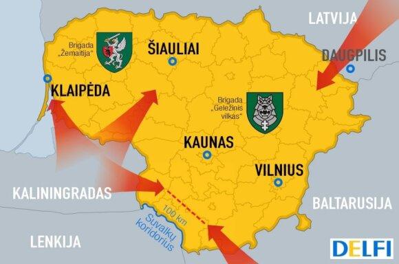 Galimos Rusijos pajėgų puolimo kryptys