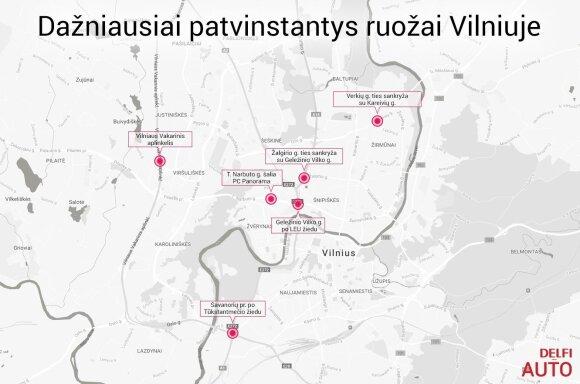 Dažniausiai patvinstančių vietų Vilniuje žemėlapis