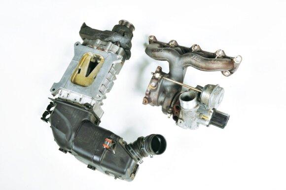 Įspūdingas tandemas: 1.4 TSI variklio kompresorius (kairėje) ir turbina (dešinėje)