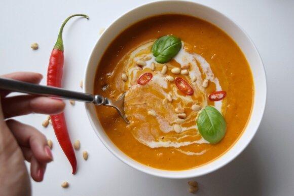 Moliūgų ir saldžiųjų bulvių sriuba