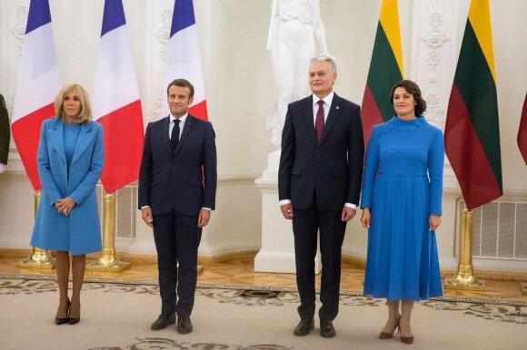 Emmanuelis Macronas, Gitanas Nausėda, Brigitte Macron, Diana Nausėdienė