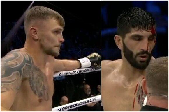 """Įspūdingas debiutas """"Glory"""" ringe: Maslobojevas parbloškė niekieno nenugalėtą kovotoją"""