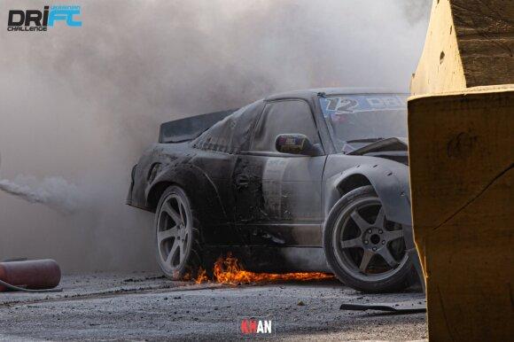 "Gedimino Levicko ""Nissan 200SX"" paskendo liepsnose. Artem Khan nuotr."