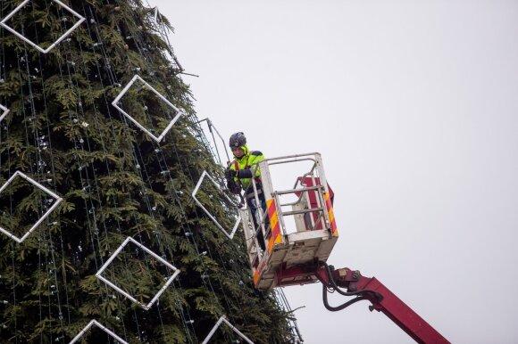 Vilniuje puošiama pagrindinėsostinės kalėdinė eglė