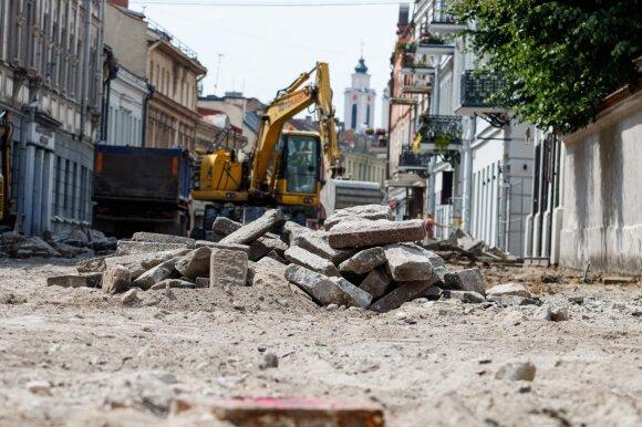 Kaune vykdomi archeologiniai kasinėjimai Vilniaus gatvėje ir rekonstrukcijos darbai.
