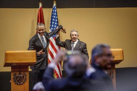 Barackas Obama ir Raulis Castro