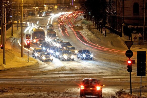 Naktinis Kaunas žiemą