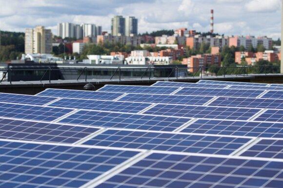 Saulės jėgainės ant Technopolio stogo