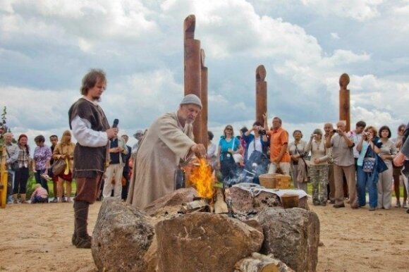 A Pagan ceremony at the museum in Naisiai