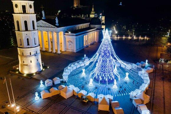 Vilniaus kalėdinė eglė iš paukščio skrydžio 2019 m.