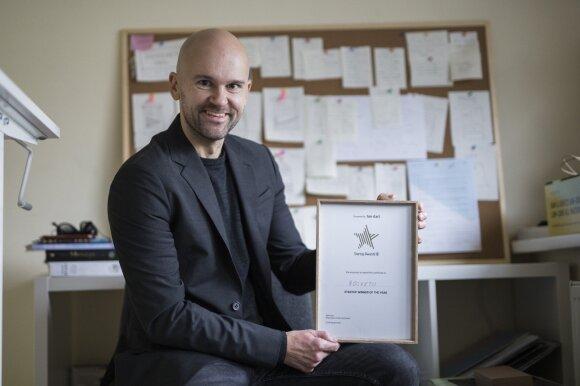 """Metų startuoliu tapo sveiką ėdalą šunims siūlantis startuolis """"Rocketo"""" ir jo įkūrėjas Arūnas Matačius."""