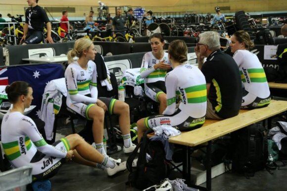 The women's track endurance squad, Rebecca Wiasak is pictured sitting far left. Photo courtesy of Cycling Australia.