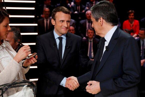 Francois Fillonas ir Emmanuelis Macronas