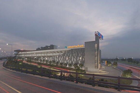 Prekybos centro šalia Vakarinio aplinkkelio vizualizacija