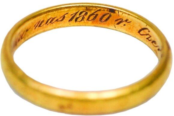Sofijos Tiškevičienės vestuvinis žiedas. 1860 m.