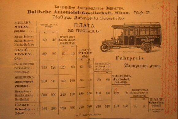 Tarpmiestinio maršruto Mitava (dab. Jelgava, LV) - Šiauliai  kainų lentelė su nurodytu išvykimo laiku iš galinių stočių. 1908 metai