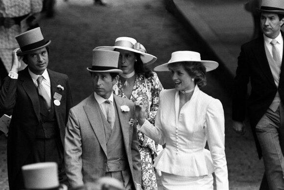 Princesė Diana, princas Charlesas ir Oliveris Hoare su žmoma