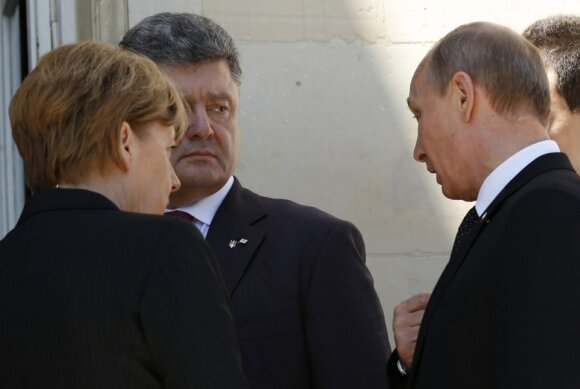 Piotras Porošenka, Angela Merkel ir Vladimiras Putinas