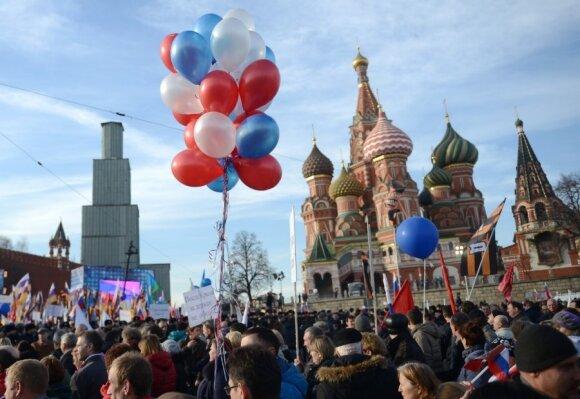 Путин спел гимн на митинге в честь годовщины аннексии Крыма