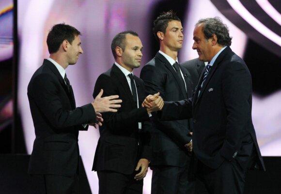 Lionelis Messi, Andresas Iniesta, Cristiano Ronaldo ir Micelis Platini