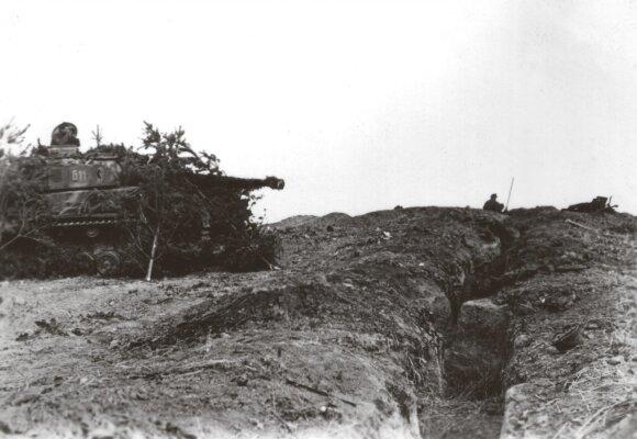 Pozicijoje tykantis spygliuočių šakomis užmaskuotas vokiečių vidutinis tankas Pz. IV. Kuršas. 1944 m.
