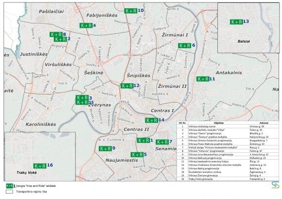 Sustojimo aikštelės žemėlapyje