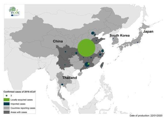 Naujo koronaviruso 2019-nCoV sukeltų atvejų geografinis pasiskirstymas