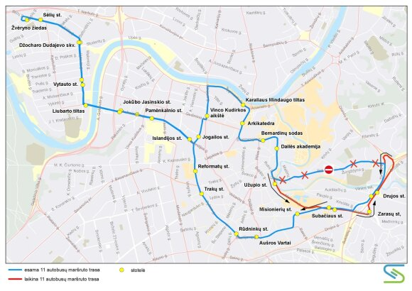 Gruodžio 10–11 d. Polocko g. Vilniuje keisis eismo organizavimas
