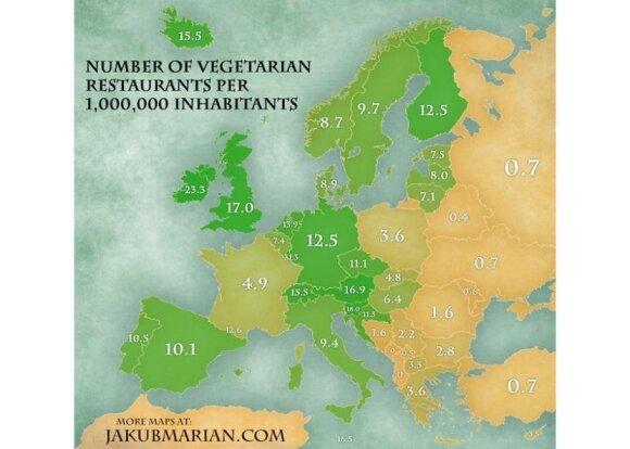 Liczba wegetariańskich restauracji. Foto: jakubmarian.com