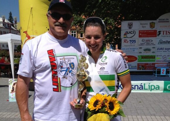 GLSK Vytis President Alex Wiasak pictured with daughter Rebecca Wiasak after an International competition in 2013. Photo courtesy of Rebecca Wiasak.