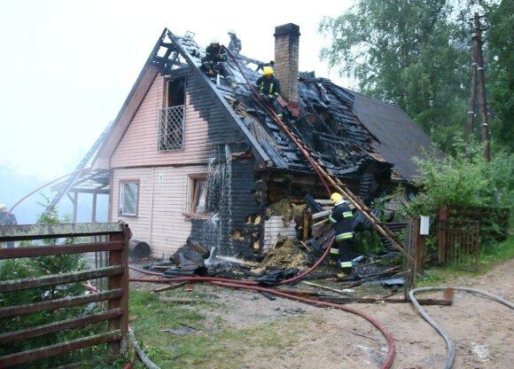 Vilniaus rajone nuo sprogusio ūkinio pastato užsiliepsnojo gyvenamasis namas