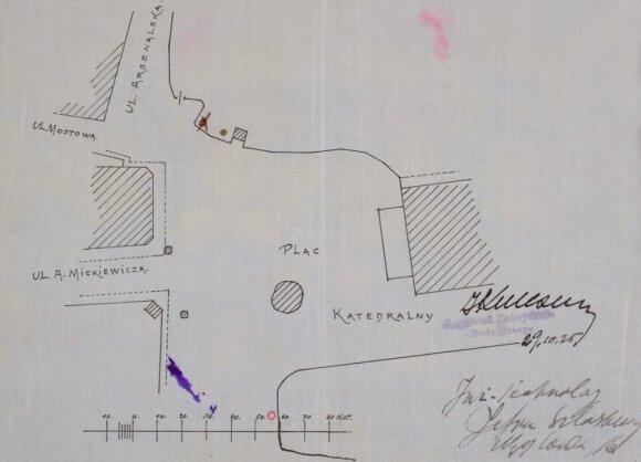 """Firmos """"Oleum"""" prašymo leisti statyti benzino kolonėlę Katedros aikštėje priedas - brėžinys. Raudonas mažas apskritimas nurodo būsimos kolonėlės vietą. 1925 m. spalio 29 diena"""