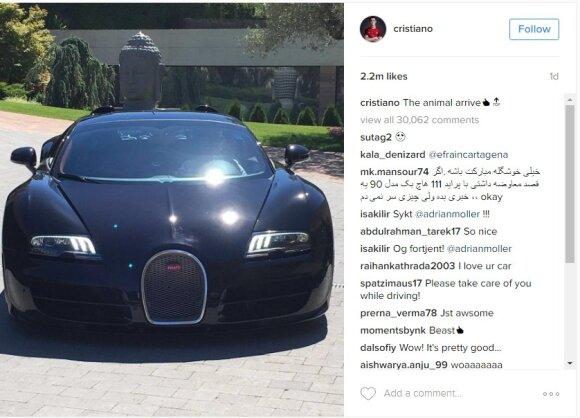 """Cristiano Ronaldo naujas automobilis """"Bugatti Veyron"""""""