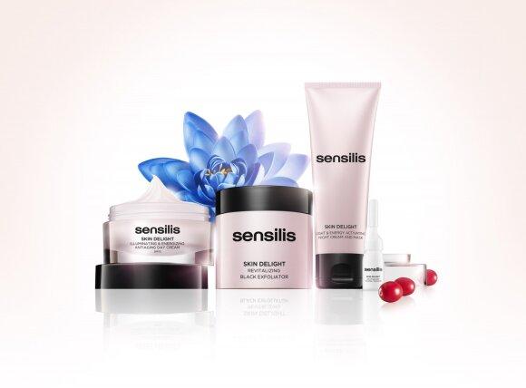 """Sensilis """"Skin Delight"""" sudaro trys priemonės: jauninamasis dieninis kremas su SPF15, naktinis kremas (75 ml) su aktyvinamojo serumo ampulėmis su stabilizuotu vitaminu C (10 %) ir gaivinamasis juodasis šveitiklis"""