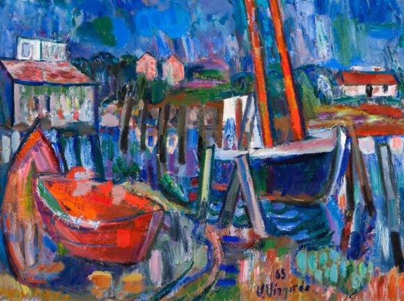 "Viktoras Vizgirda. ""Peizažas su valtelėmis"" (1965)"