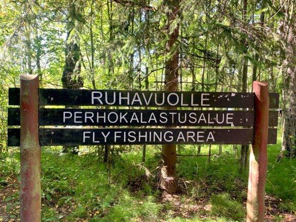Ženklas žymintis upės ruožą kuriame galima žvejoti tik museline meškere
