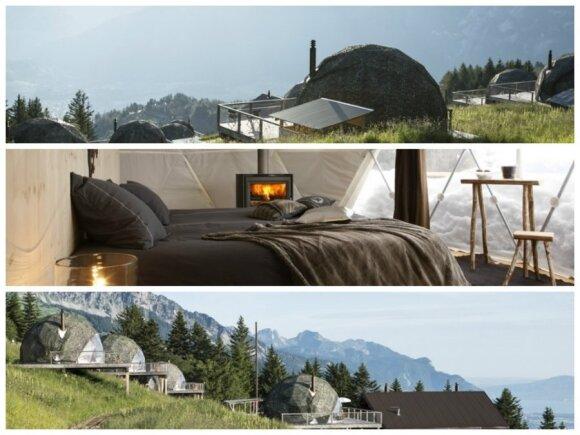 """Ekoviešbutis Šveicarijoje/  Viešbučio """"Whitepod"""" nuotr."""