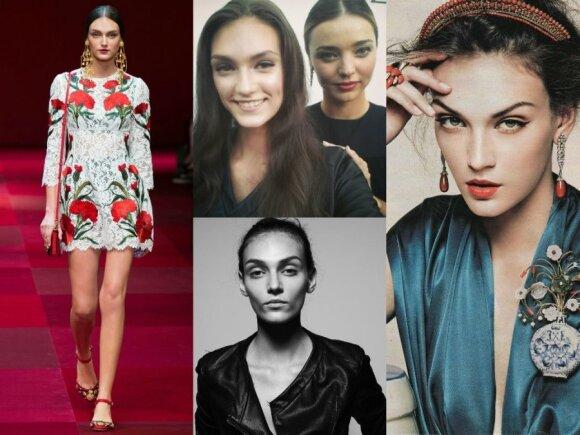 """Manekenė Deimantė Misiūnaitė ant """"Dolce&Gabbana"""" podiumo, kartu su Miranda Kerr ir mados fotosesijose"""