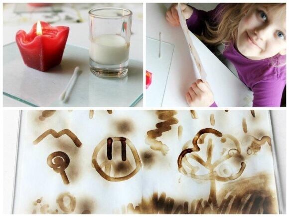 Linksmas eksperimentas: piešiame su pienu ir žvakės liepsna