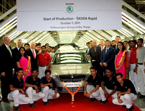 Indijoje pradėta Škoda Rapid gamyba