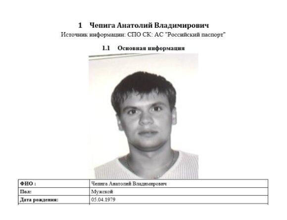 """Išrašas iš sistemos """"Rosiskij pasport"""""""