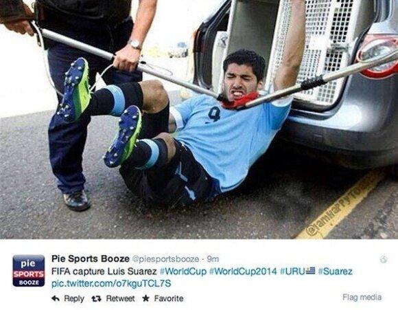 Interneto šmaikštuoliai štampuoja memus, dedikuotus Luisui Suarezui