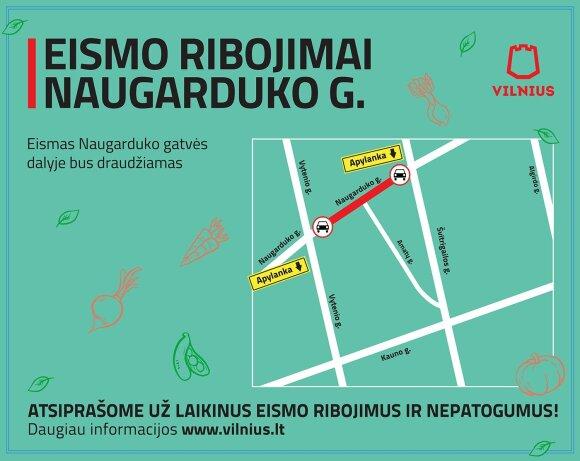 Vilniaus Naugarduko gatvėje – laikini eismo ribojimai