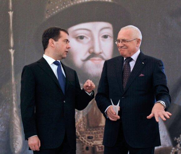 Dmitrijus Medvedevas ir Vaclavas Klausas