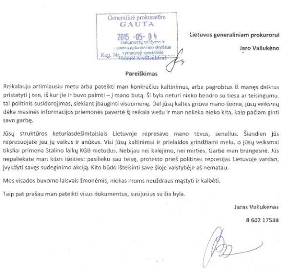 J. Valiukėno pareiškimas