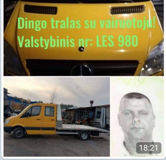 По дороге в Литву пропал водитель из Юрбаркаса с автотралом