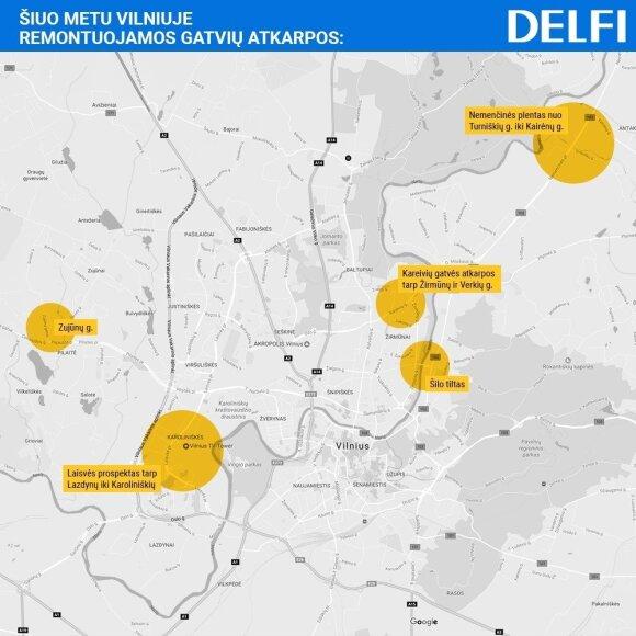 Pagrindinių Vilniaus gatvių jau vykstančio remonto žemėlapis