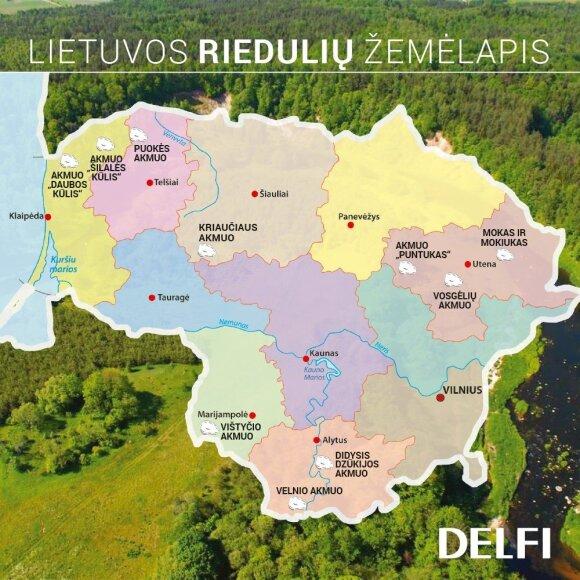 Didiausių Lietuvos akmenų žemėlapis